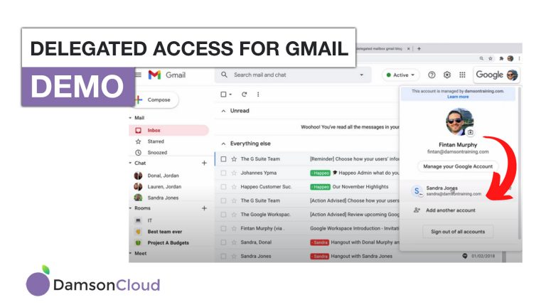 Damson Cloud's thumbnail for delegated access for gmail blog.