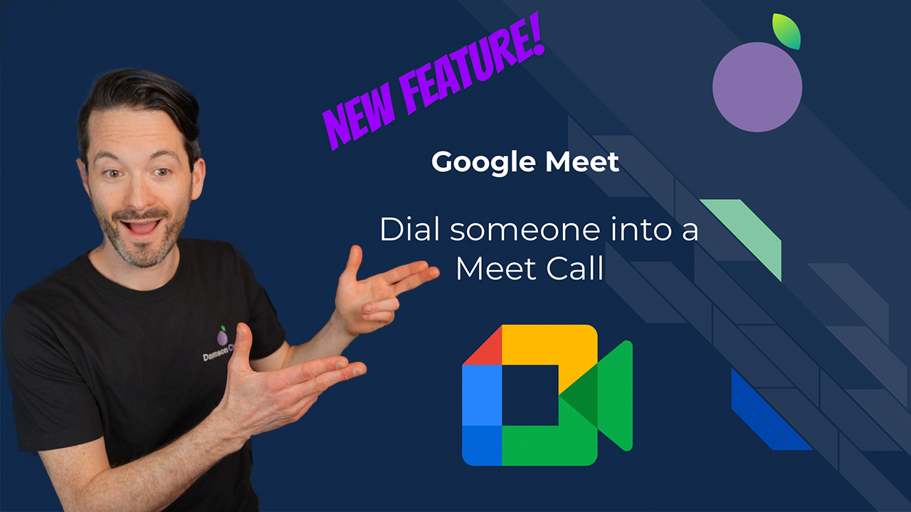 image of fintan murphy pointing towards the blog title for global dialling in google meet
