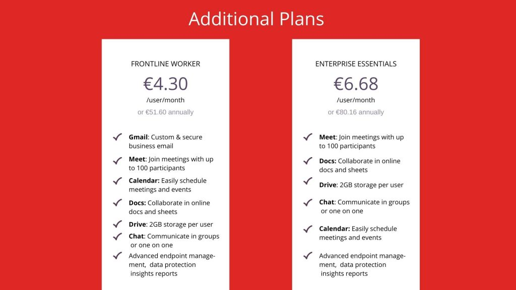 google workspace's additional plans