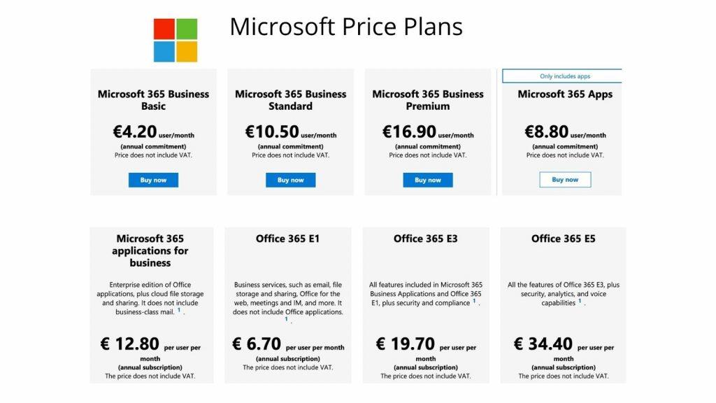 microsoft price plans