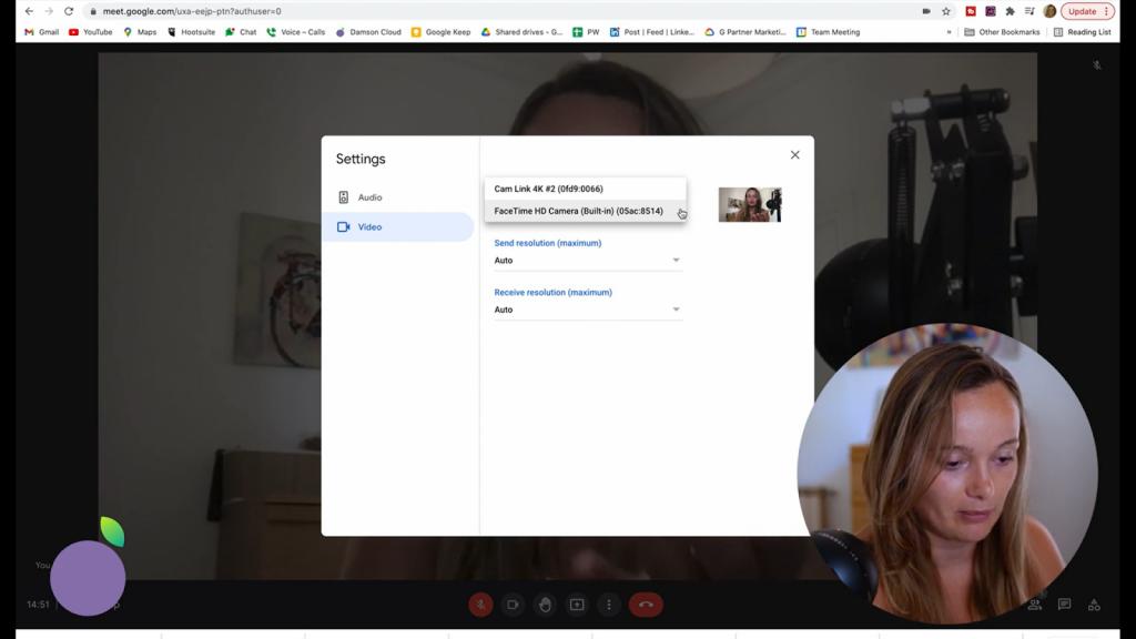 screenshot of Google Meet video settings