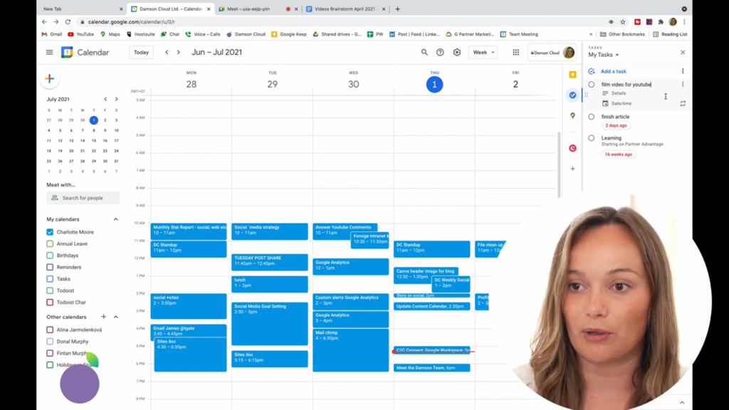 screenshot of damson cloud adding a Google task